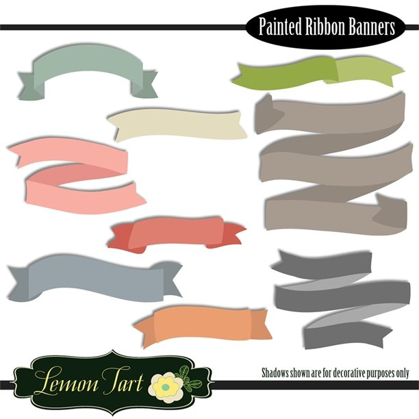 Colorful Painted Ribbon banners  Lemon Tart    Mygrafico
