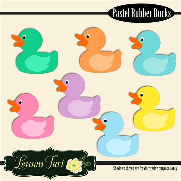 Rubber Ducks Pastel colors Digital clipart Cliparts Lemon Tart    Mygrafico