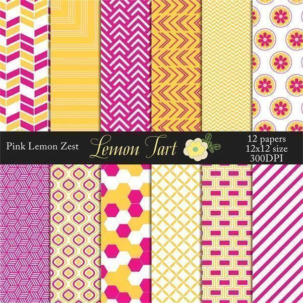 Pink Yellow Lemon Zest wedding background papers  Lemon Tart    Mygrafico