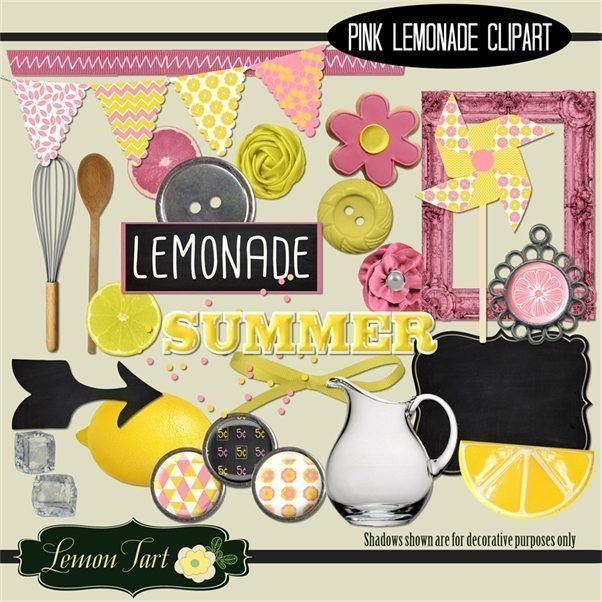 Pink Lemonade clip art scrapbooking clipart Lemon Tart    Mygrafico