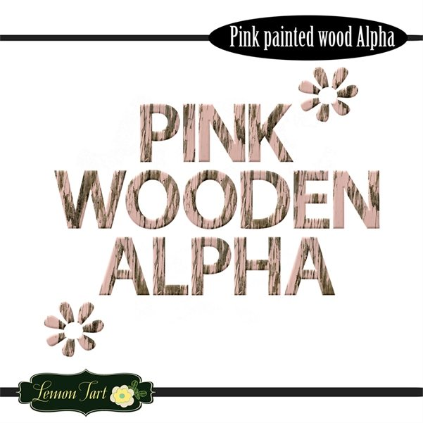 Pink painted wooden alphabet clipart