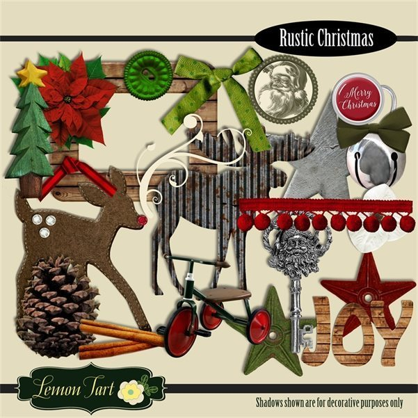 Rustic Christmas clipart red green deer moose  Lemon Tart    Mygrafico
