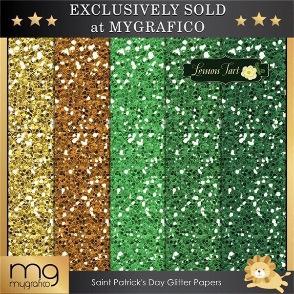 St Patrick's day glitter papers orange green gold  Lemon Tart    Mygrafico