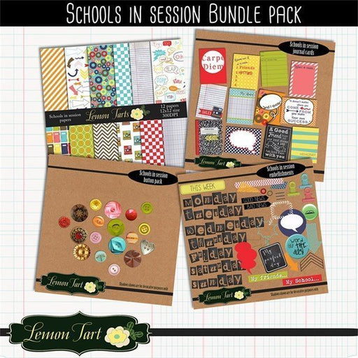 School Scrapbook bundle papers embellishments button journals  Lemon Tart    Mygrafico