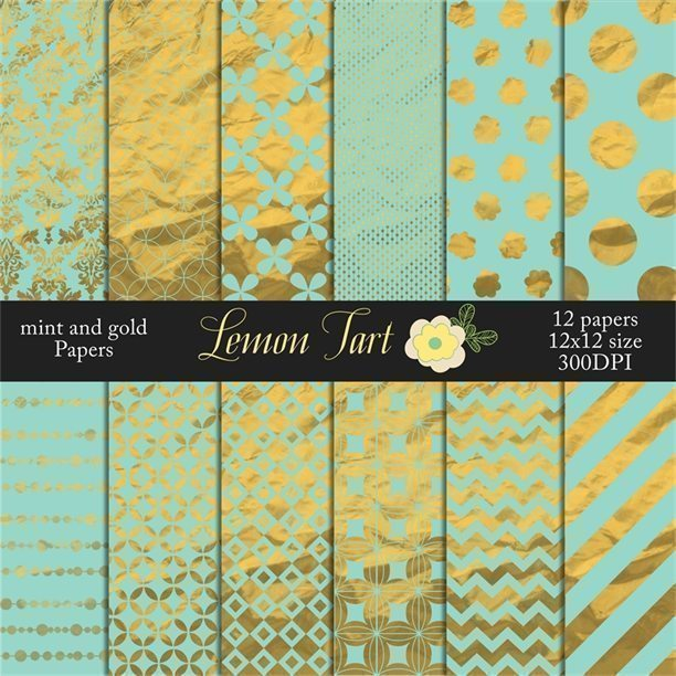 Mint and gold foil papers modern designs vintage flair  Lemon Tart    Mygrafico