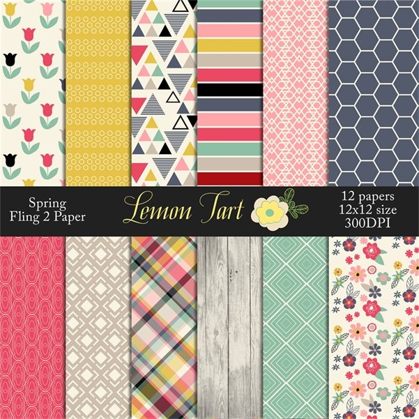 Spring Fling Flower pattern digital papers number 2 Digital Papers & Backgrounds Lemon Tart    Mygrafico