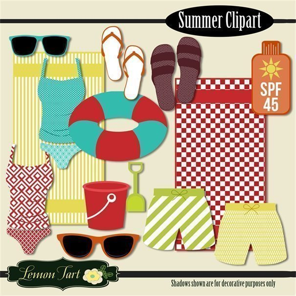 Summer Beach clip art  Lemon Tart    Mygrafico