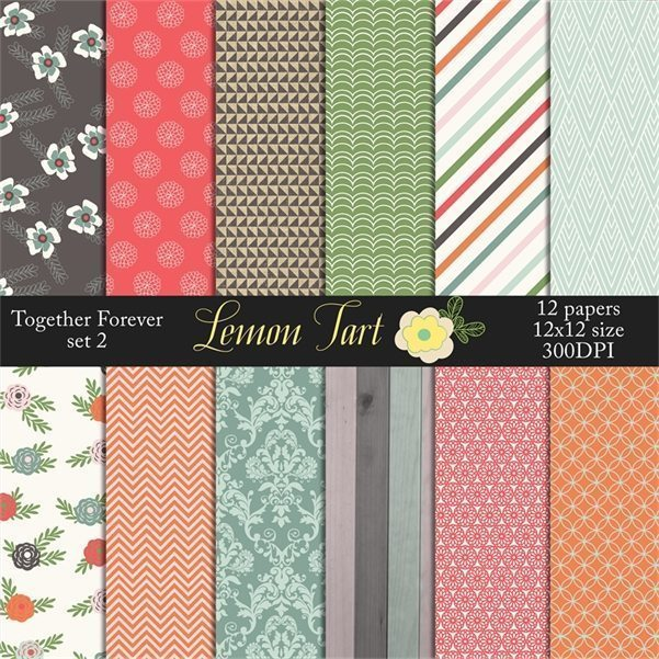 Together Forever digital paper Romance Floral  Lemon Tart    Mygrafico