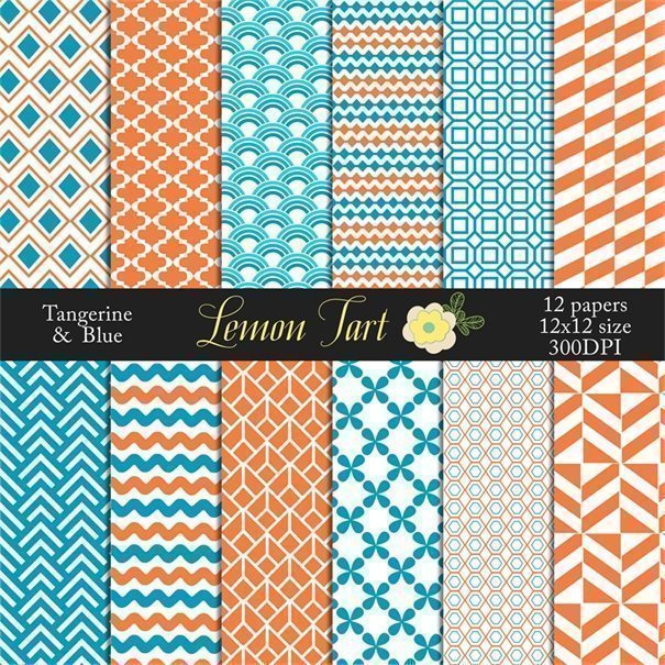 Tangerine and Blue digital background papers  Lemon Tart    Mygrafico