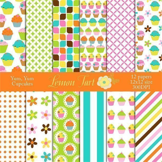 Cute Cupcake papers in bright colors  Lemon Tart    Mygrafico