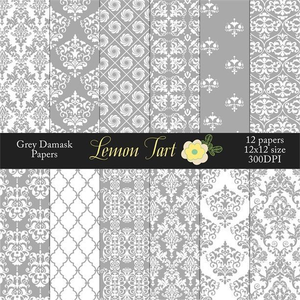 Grey and white digital backgrounds damasks Digital Papers & Backgrounds Lemon Tart    Mygrafico