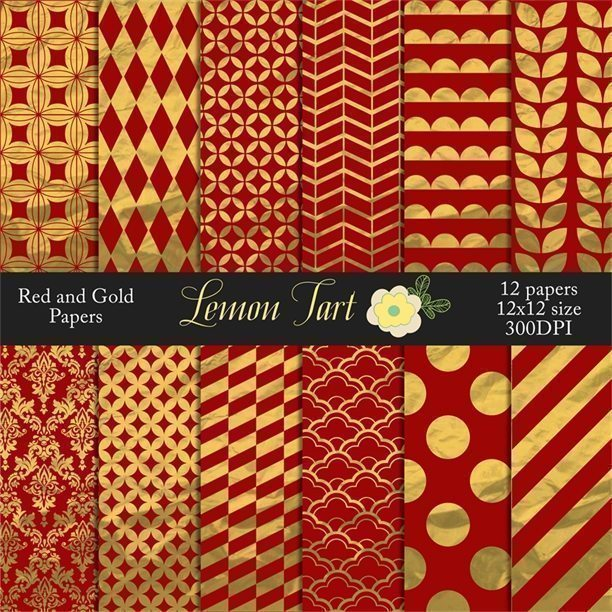Red and Gold wrapping paper scrapbook papers  Lemon Tart    Mygrafico