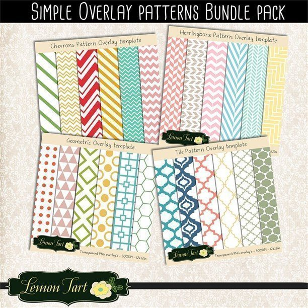 Overlay simple bundle pack Chevron Moroccan tile geometric herringbone  Lemon Tart    Mygrafico