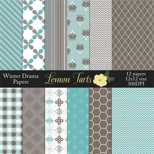 Winter style Turquoise and grey designs digital scrapbook  Lemon Tart    Mygrafico