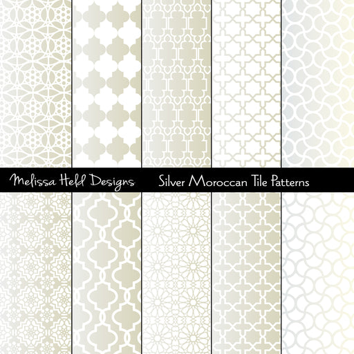 Silver Moroccan Tile Patterns Digital Paper & Backgrounds Melissa Held Designs    Mygrafico