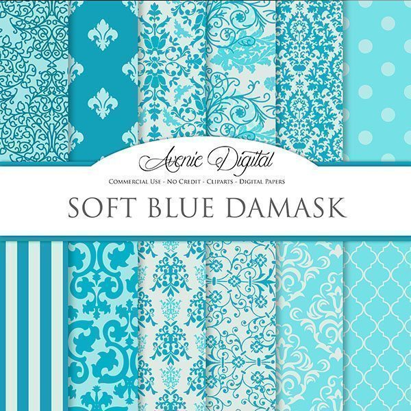 Blue Damask Digital Paper  Avenie Digital    Mygrafico
