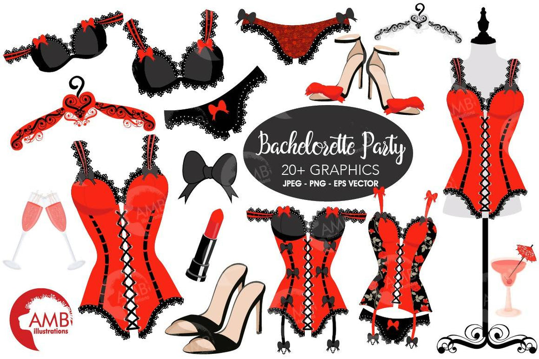 Bachelorette Clipart, Bachelorette Party Clipart, Lingerie Clipart, Corset, Wedding, Girls Night Out Clip Art, Commercial Use, AMB-2208 Cliparts AMBillustrations    Mygrafico