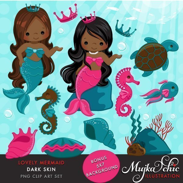 Lovely Little Mermaid Clipart Dark Skin  Mujka Chic    Mygrafico