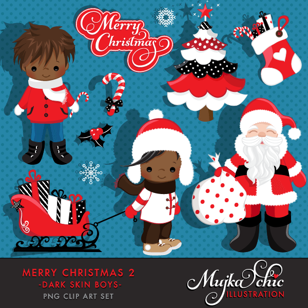 Merry Christmas Clipart African American Boys 2 Clipart Instant Download Christmas Graphics  Mujka Chic    Mygrafico