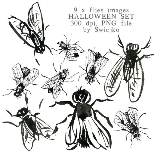 Halloween clipart set, flies illustration, watercolor