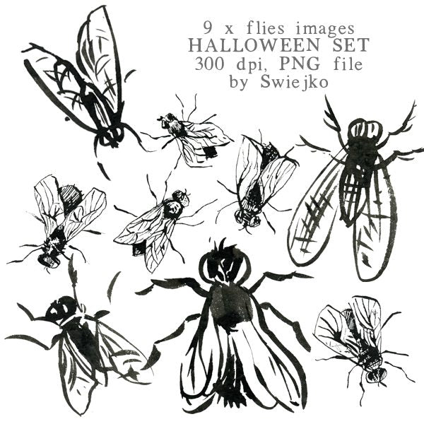 Halloween clipart set, flies illustration, watercolor Clipart Swiejko    Mygrafico
