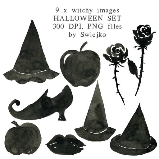 Halloween clipart set, witch images, watercolor illustration