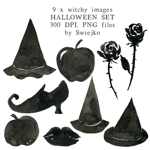 Halloween clipart set, witch images, watercolor illustration Cliparts Swiejko    Mygrafico