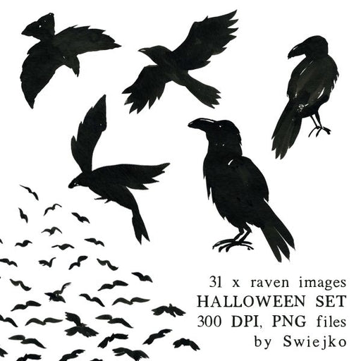 Halloween clipart set, raven illustration, watercolor images