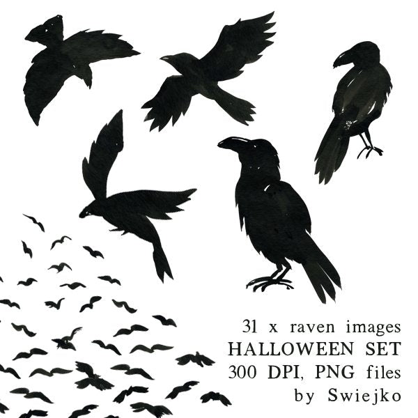 Halloween clipart set, raven illustration, watercolor images Clipart Swiejko    Mygrafico