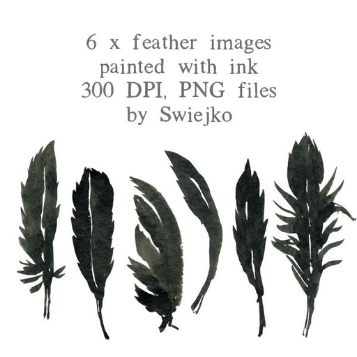 Halloween clipart set, feather illustration, watercolor images