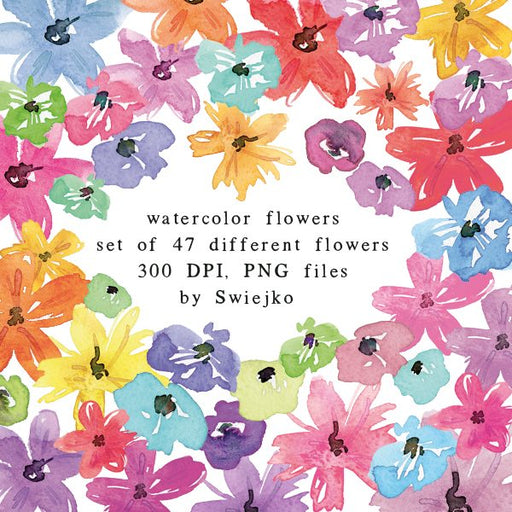 Watercolor Flowers clipart set (31) Cliparts Swiejko    Mygrafico