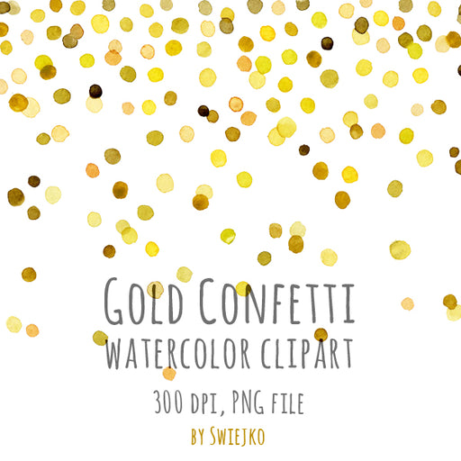 Gold Confetti watercolor clip art Cliparts Swiejko    Mygrafico