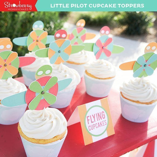Little Pilot Printable Cupcake Toppers Party Printable Templates Strawberry Mommycakes    Mygrafico