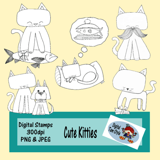 Cute Kitties Digital Stamps Tamara Hess    Mygrafico