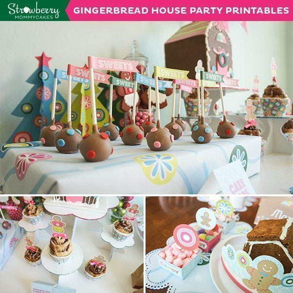DIY Gingerbread House Party Printables Party Printable Templates Strawberry Mommycakes    Mygrafico