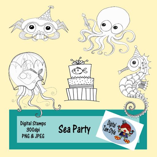 Sea Party Digital Stamps Tamara Hess    Mygrafico
