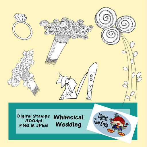 Whimsical Wedding Digital Stamps Tamara Hess    Mygrafico