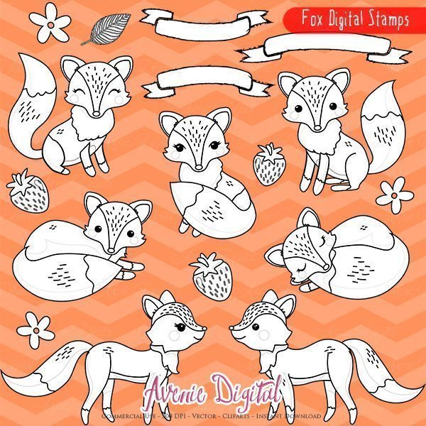 Cute Fox Digital Stamps  Avenie Digital    Mygrafico