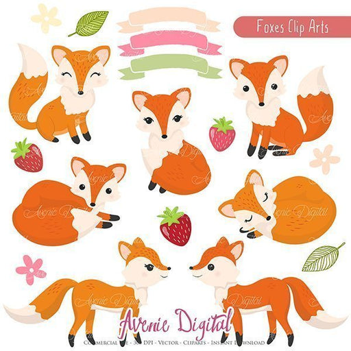 Cute Fox Clipart - Vectors  Avenie Digital    Mygrafico