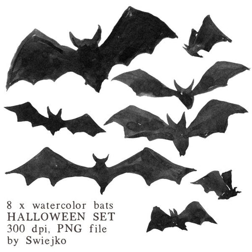 Halloween clipart set, Bats illustration, watercolor Clipart Swiejko    Mygrafico