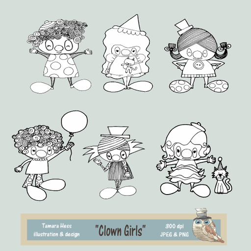 Clown Girls Digital Stamps Digital Stamps Tamara Hess    Mygrafico