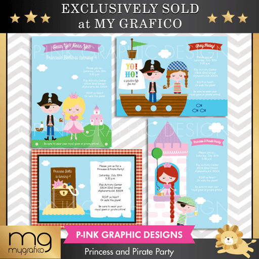 Princess and Pirate Party Party Printable Templates Pink Graphic Design    Mygrafico