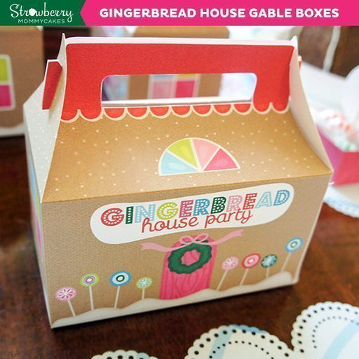 DIY Gingerbread House Gable Boxes Party Printable Templates Strawberry Mommycakes    Mygrafico