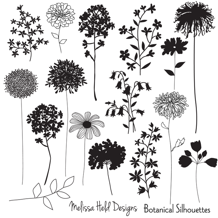 Botanical Silhouettes Cliparts Melissa Held Designs    Mygrafico