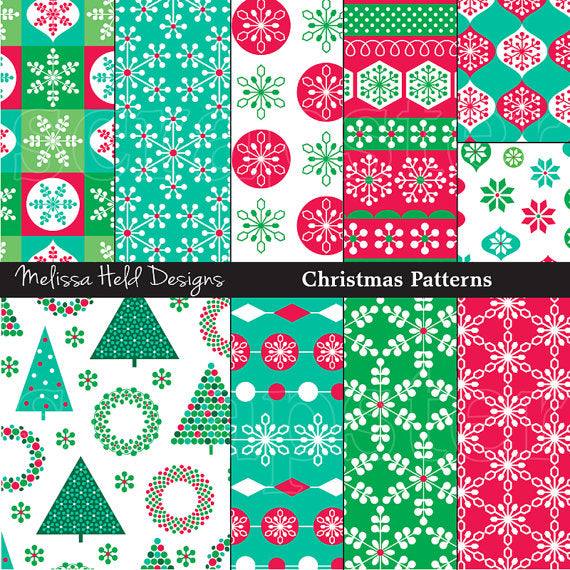 Bright Christmas Patterns Digital Paper & Backgrounds Melissa Held Designs    Mygrafico