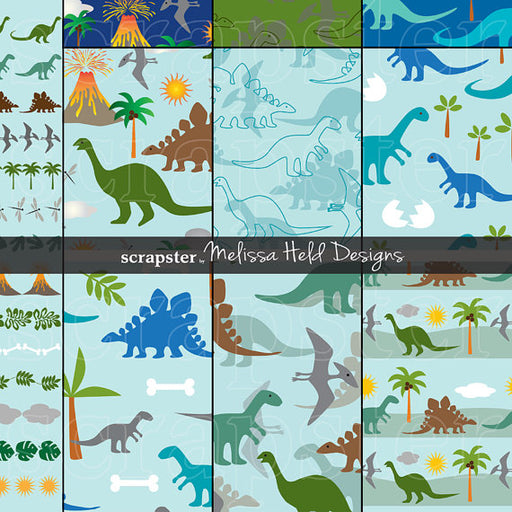 Dinosaur Patterns and Borders Digital Papers & Backgrounds Melissa Held Designs    Mygrafico