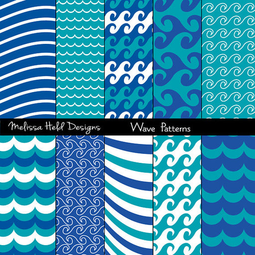Wave Patterns Digital Paper & Backgrounds Melissa Held Designs    Mygrafico