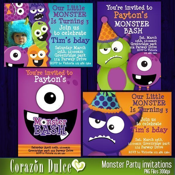 Monster Party Invitations  Corazón Dulce    Mygrafico