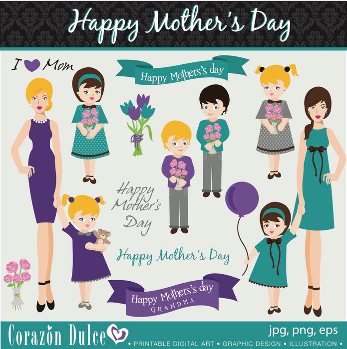 Mother's Day - Happy Mother's Day Clipart Clipart Corazón Dulce    Mygrafico