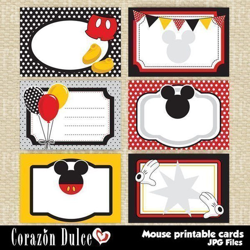 Mouse printable cards